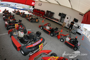 The go-karts ready to for Roger Clemens