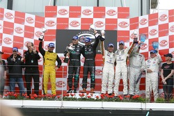 GT1 podium: class and overall winners Mika Salo and Thomas Biagi, second place Jean-Denis Deletraz and Mike Hezemans, and third place Anthony Kumpen and Bert Longin