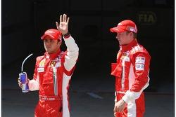 Pole winner Felipe Massa, Scuderia Ferrari, celebrates with Kimi Raikkonen, Scuderia Ferrari