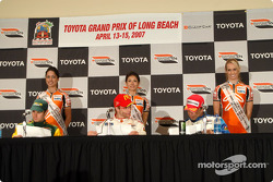 Podium press conference: third place Will Power, winner Sébastien Bourdais and second place Oriol Servia