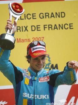 Podium: race winner Chris Vermeulen celebrates