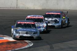 Bruno Spengler, Team HWA AMG Mercedes, AMG Mercedes C-Klasse, leads Paul di Resta, Persson Motorsport AMG Mercedes, AMG Mercedes C-Klasse and Bernd Schneider, Team HWA AMG Mercedes, AMG Mercedes C-Klasse