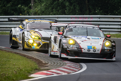 #10 Team Manthey Porsche 911 GT3 RSR: Georg Weiss, Oliver Kainz, Jochen Krumbach, Richard Lietz and #25 Marc VDS Racing BMW Z4 GT3: Maxime Martin, Lucas Luhr, Markus Palttala, Richard Westbrook