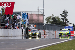#28 Audi Sport Team WRT Audi R8 LMS: Christopher Mies, Edward Sandström, Nico Müller, Laurens Vanthoor crosses the finish line to win the race