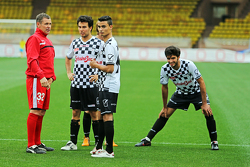 (L to R): Tom Kristensen; Sergio Perez Sahara Force India F1; Pascal Wehrlein Mercedes AMG F1 Reserve Driver; and Carlos Sainz Jr. Scuderia Toro Rosso at the charity football match