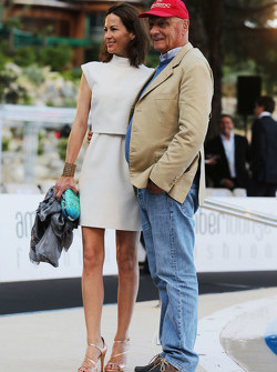 Niki Lauda, Mercedes Non-Executive Chairman with his wife Birgit Wetzinger at the Amber Lounge Fashion Show