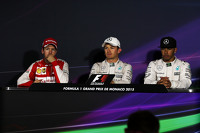 The FIA Press Conference,: Sebastian Vettel, Ferrari, second; Nico Rosberg, Mercedes AMG F1, race winner; Lewis Hamilton, Mercedes AMG F1, third