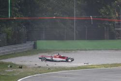 Lance Stroll, Prema Powerteam Dallara Mercedes-Benz crashed in the gravel