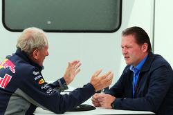 Dr Helmut Marko, Red Bull Motorsport Consultant with Jos Verstappen