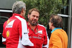 Maurizio Arrivabene, Ferrari Team Principal with Gino Rosato, Ferrari and Jacques Villeneuve,