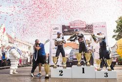 Podium: winners Sébastien Ogier and Julien Ingrassia, Volkswagen Polo WRC, Volkswagen Motorsport, second place Andreas Mikkelsen and Ola Floene, Volkswagen Polo WRC, Volkswagen Motorsport, third place Ott Tanak and Molder Raigo, M-Sport Ford Fiesta WRC