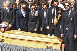 Pastor Maldonado, Felipe Massa, Jean-Eric Vergne attend the funeral of Jules Bianchi in Nice, France