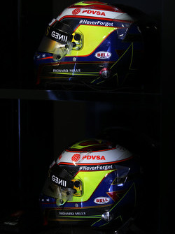 The helmets of Pastor Maldonado, Lotus F1 Team carry a tribute to Jules Bianchi
