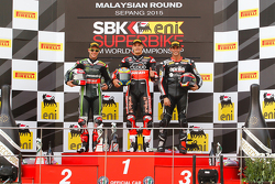 Podium race 2 : second place Jonathan Rea, Kawasaki, winner Chaz Davies, Ducati Team, third place Jordi Torres, Aprilia Racing Team