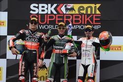 Podium race 1 : second place, Chaz Davies, Ducati Team, winner Jonathan Rea, Kawasaki, third place, Max Biaggi, Aprilia Racing Team