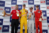 Race winner Felix Rosenqvist, Prema Powerteam Dallara Mercedes-Benz, second place Antonio Giovinazzi, Jagonya Ayam with Carlin Dallara Volkswagen, third place Lance Stroll, Prema Powerteam Dallara Mercedes-Benz and Rene Rosin, Team manager Prema Powerteam