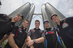 Will Davison, Erebus Motorsport and Todd Kelly, Nissan Motorsports and Scott McLaughlin, Garry Rogers Motorsport and Chaz Mostert, Prodrive Racing Australia and Craig Lowndes, Triple Eight Race Engineering visit the Petronas Towers in Kuala Lumpur, Malaysia, August 05, 2015.