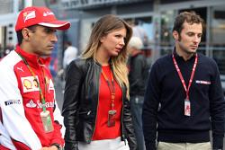 Marc Gene, Ferrari Test Driver with Federica Masolin, Sky F1 Italia Presenter and Luca Filippi, Sky Sports F1 TV Presenter