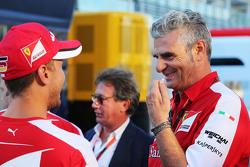 Sebastian Vettel, Ferrari met Maurizio Arrivabene, Ferrari teambaas
