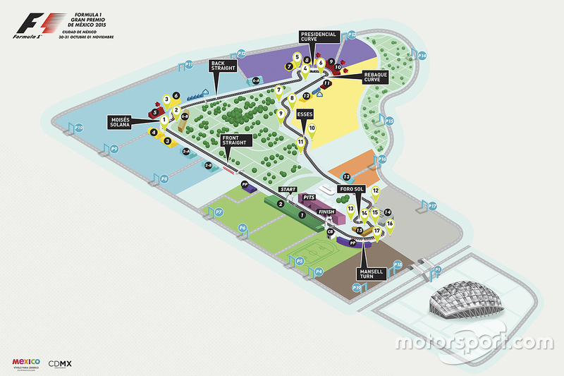 Mapa final del circuito aut dromo hermanos rodr guez para for Puerta 2 autodromo hermanos rodriguez