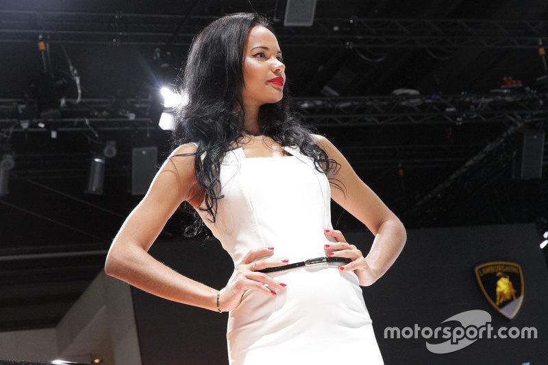 a charming hostess at frankfurt international motor show