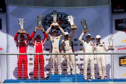 GTLM Podium: Race winner #25 BMW Team RLL BMW Z4 GTE: Bill Auberlen, Dirk Werner, second place #62 Risi Competizione Ferrari F458: Pierre Kaffer, Giancarlo Fisichella, third place #911 Porsche North America Porsche 911 RSR: Patrick Pilet, Nick Tandy