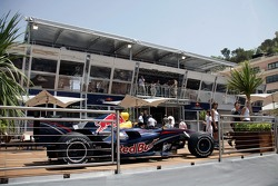 A Red Bull RB3 in front of the Red Bull Energy Station