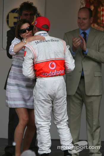 Podium: Princess Caroline of Monaco and Lewis Hamilton, McLaren Mercedes