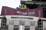 Dario Franchitti's name appears on Victory Circle after the race