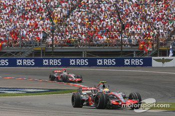 Lewis Hamilton, McLaren Mercedes, MP4-22 leads Fernando Alonso, McLaren Mercedes, MP4-22