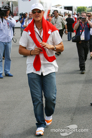Michael Schumacher, Scuderia Ferrari, Advisor, arrives at the circuit