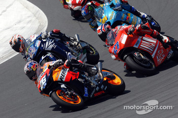 Start: Dani Pedrosa leads Marco Melandri and Casey Stoner