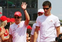 Fernando Alonso, McLaren Mercedes and Mark Webber, Red Bull Racing