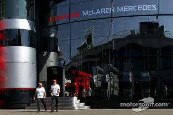 Fernando Alonso, McLaren Mercedes walks out of the McLaren Mercedes motorhome