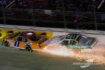 Jeff Burton and Eric McClure tangle in turn three