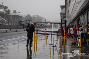 Wet pitlane at Monza