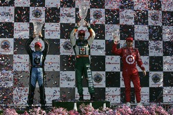 Podium: race winner Tony Kanaan with Danica Patrick and Dan Wheldon