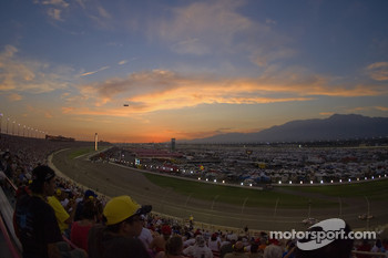 The sun sets over California Speedway