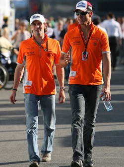 Markus Winkelhock, Test Driver, Spyker F1 Team and Adrian Sutil, Spyker F1 Team