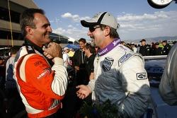 Mark Patterson congratulates race winner Jim Matthews