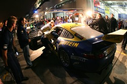 Pitstop for #25 Land Motorsport Porsche GT3 RSR: Marc Basseng, Marc Hennerici, Frank Stippler