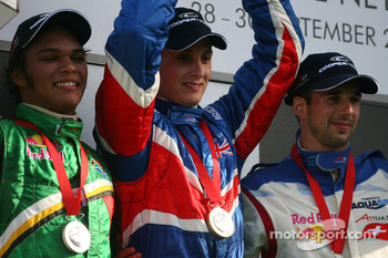 Podium, Adrian Zaugg, driver of A1 Team South Africa, Oliver Jarvis, driver of A1 Team Great Britain and Neel Jani, driver of A1 Team Switzerland