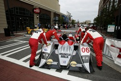 Petit Preview Party at Atlantic Station: Team Cytosport team members push the Lola B06/14 AER to the pitstop demo