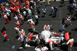 The cars of Felipe Massa, Scuderia Ferrari and Lewis Hamilton, McLaren Mercedes