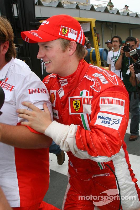 Kimi Raikkonen heads to Ferrari team celebrations