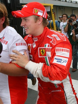 Kimi Raikkonen heads to Ferrari team celebrations