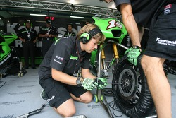 Kawasaki Racing team member at work