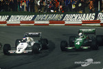 Keke Rosberg, Williams-Cosworth FW08C battles with Danny Sullivan