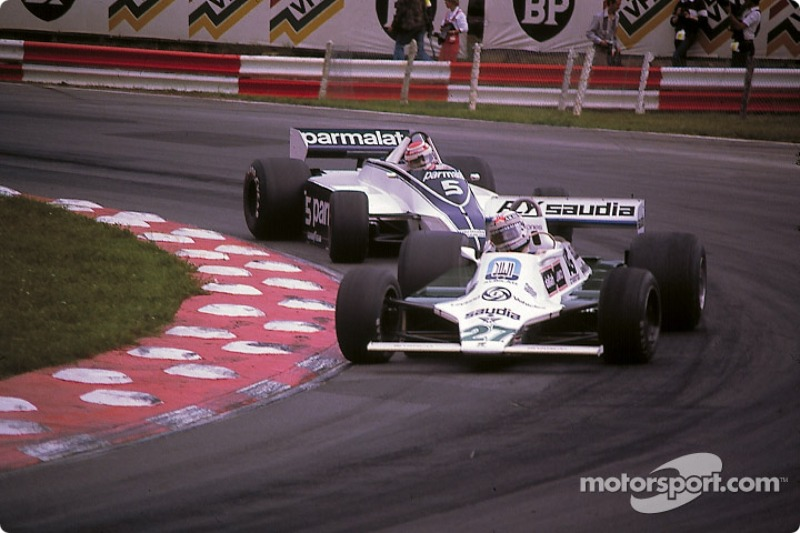 Alan Jones leads Nelson Piquet