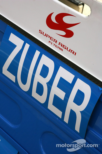 Pitboard of Andreas Zuber, Test Driver, Honda Racing F1 Team